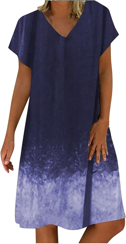 Summer Dresses for Women Casual V Neck Beach Sundress Short Sleeve Midi Skirt Gradient Print Party Ball Gowns