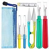 Herramientas de mano de costura Set de juntas giratorias de corte de cinta Medida de la pinza de herramienta para la eliminación de la puntada para el acolchado bordado 7PCS