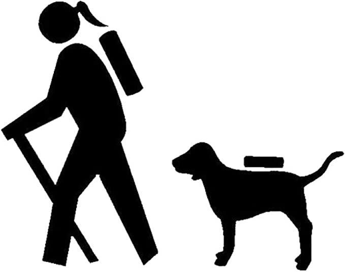 Girl Hiker Hiking with Labrador Lab Decal Sticker for Car Window BG 540
