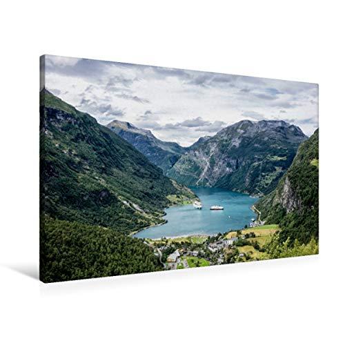 Calvendo Premium Textil-Leinwand 90 cm x 60 cm quer, EIN Motiv aus dem Kalender Norwegen - Unterwegs im Land der Berge, Trolle und Fjorde | Wandbild, Bild auf Geirangerfjord in Norwegen Natur Natur