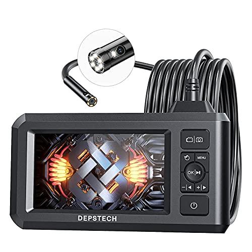 """DEPSTECH Dual Lens Endoskopkamera mit Licht 4,3\"""" HD Bildschirm Inspektionskamera 1080P Digitales Endoskop mit 7,9 mm Lens IP67 wasserdicht, 7 Einstellbare LEDs, 5m halbstarres Kabel, 32GB Karte"""