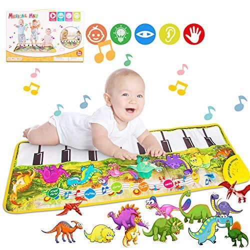 Tappeto Musicale Bambini, Piano Mat, Tastiera Danza Strumento Musicale 10 Melodie 8 Strumenti, Bambino Piano Playmat, Tappetino per Pianoforte Educativo Giocattolo(Dinosauro) 108.5 * 36.5cm