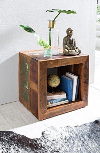 Beistelltisch KALKUTTA Shabby Chic Recycling Mango Massiv-Holz Ablagetisch Bootsholz | Kleiner Tisch für Wohnzimmer 45 x 45 x 35cm | Design Wohnzimmertisch Cube Form