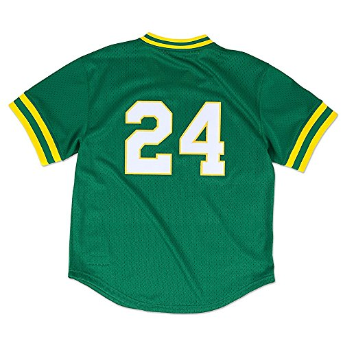 Mitchell & Ness Rickey Henderson #24 Oakland Athletics Men's 1991 Authentic Mesh Batting Practice Jersey (4X)