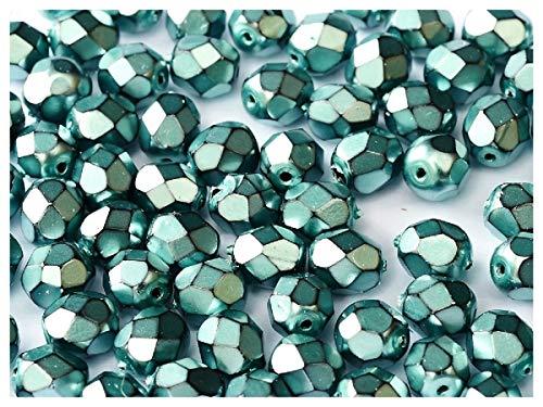 100 piezas, 4 mm, Cuentas de vidrio facetado redondas checo, Fire-Polished, Jet/Heavy Metal Comet