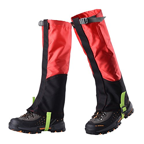 VORCOOL Unisex Polainas al Aire Libre Impermeable Respirable Protege para Las Piernas para Senderismo Esquí Escalada L(Black Red)