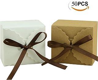 Mengger Cajas para Dulces Regalos Cajita Paper Kraft Carton Bombones Caramelos Navidad Boda Cumpleaños Fiesta Bautizo Graduación con Decoración 50Pcs,cajitas para regalos