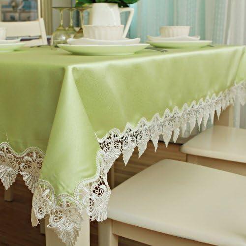 Jhxena Table De Style Européen Arts Tissu Dentelle Imperméable De Couleur Solide Couvercle Rectangulaire Table en Tissu, Vert 140  220Cm