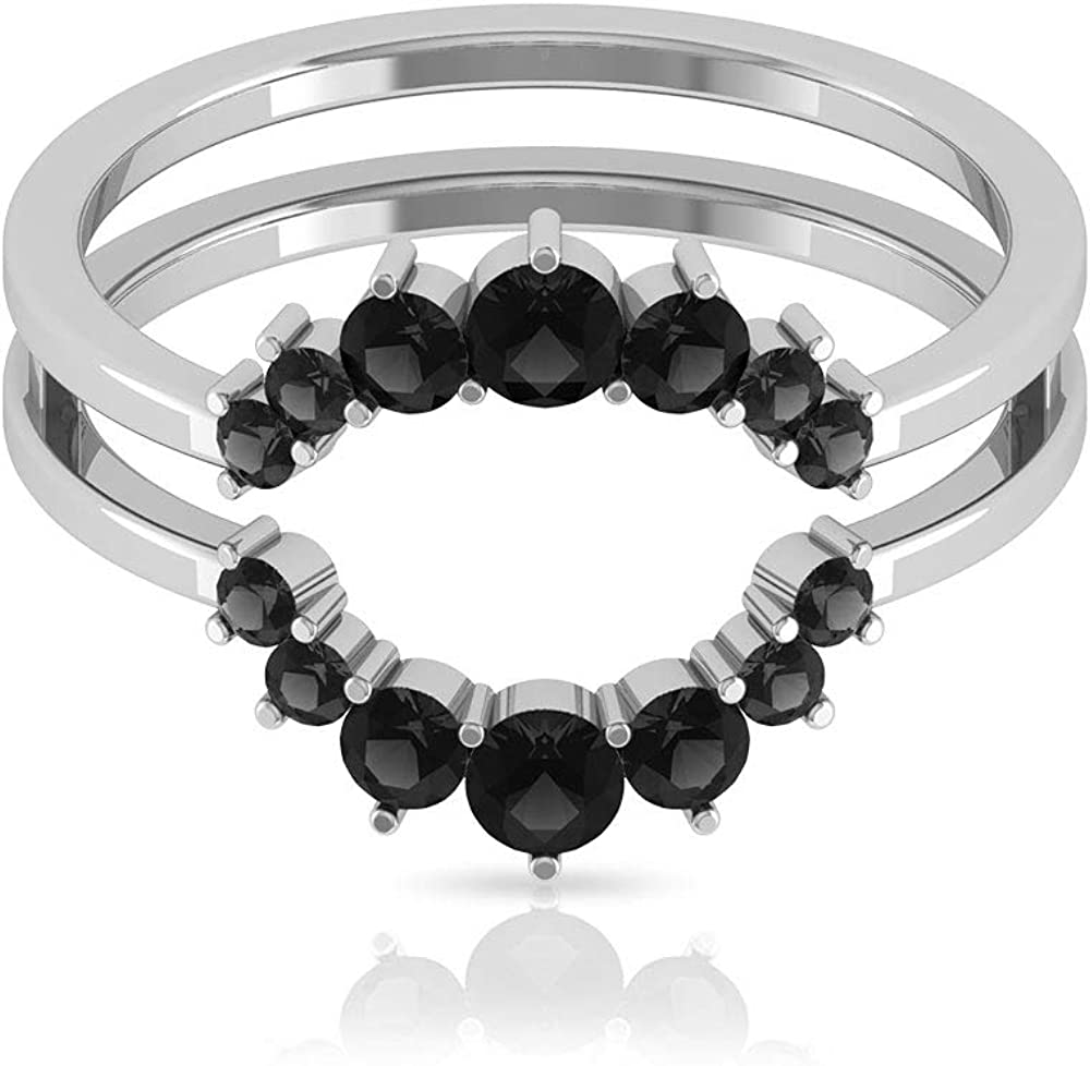3/4 CT Black Onyx Ring, Round Cut Gold Ring, Jacket Wedding Band, Minimal Stackable Ring (AAA Quality), 14K Gold