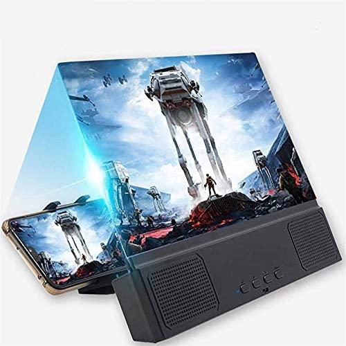Pantalla de teléfono Lupa de lupa, amplificador de teléfono inteligente de 12 '3D' Zooms 2-6 veces con diseño de superficie curva, ampliación de películas para todo el amplificador de video HD de telé