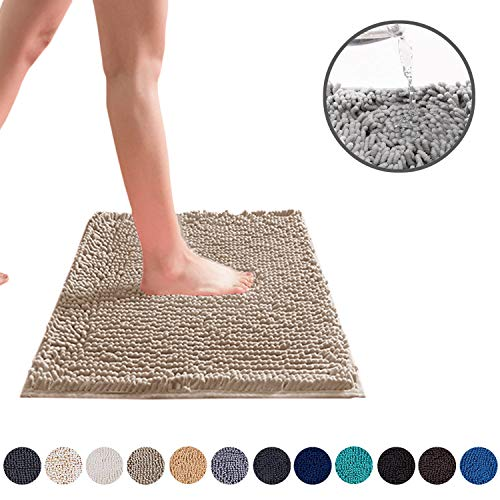 DEARTOWN Non-Slip Shaggy Bathroom Rug,Soft Microfibers Chenille Bath Mat with Water Absorbent (Camel,24X39 Inches), Machine Washable