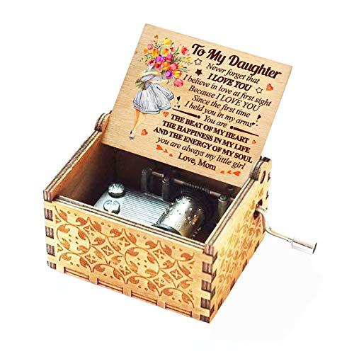 Evelure - Caja de música de madera con texto en inglés «You Are My Sunshine» grabada con láser, idea de regalo para cumpleaños, de madre a hija (flor)