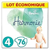 Pampers - Harmonie - Couches Taille 4 (9-14kg) Hypoallergénique -  Lot economique (76 couches)