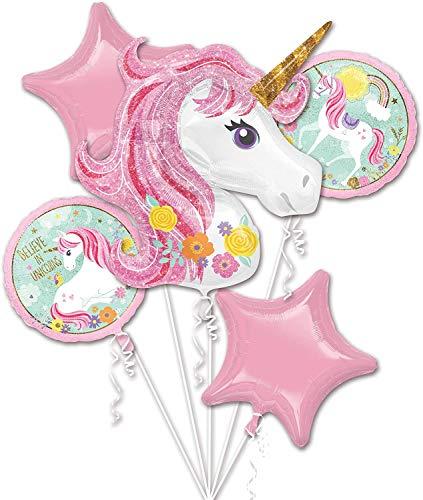 Lapeno Einhorn Party Supplies Dekorationen mit Einhorn Ballons, Glücklich Geburtstag Banner für Mädchen Boy Kids (Rosa, Medium)