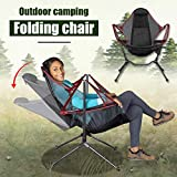 【DHL Delivery】 Ultralight Folding Camp Chair, Luxury Portable Arm Chair Collapsible Steel Frame High Back Camp Chairr Rocking Chair for Outdoor Camping Swing (Red)