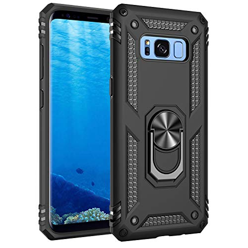 Korecase Compatible with Samsung Galaxy S8 Case, Armor Dual Layer Protective Cover with 360 Degree Swivel Ring Kickstand Black
