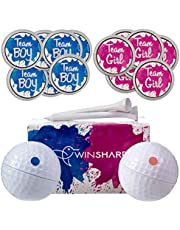 Winsharp Gender Reveal Golf Balls Exploding Golf Ball Set - 2 Balls - 1 Pink & Blue Plus Golf Tees and 20 Pink and 20 Blue Baby Gender Voting Stickers
