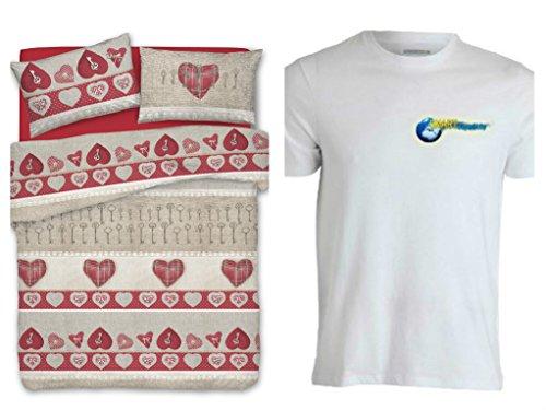 Smartsupershop Housse de couette avec taies d'oreiller pour lit double 250 x 200 cm – Cœur secret rouge – T-shirt Staff Gratis – en coton fabriqué en Italie
