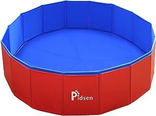 Pidsenペット用プール折りたたみポータブルバスグッズ 犬、猫用 子どもの水遊びプールにも PVC製(M(80*80*20cm), ブルー&レッド)