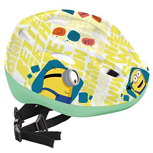 Mondo- Casco Bici per Bambini Design Minions Toys Minions-28144, Colore Bianco, 52-56, 28144