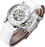 Women's Watch Luxury Mechanical Stainless Steel Skeleton Steampunk Automatic Self Winding PU Leather Wristwatch