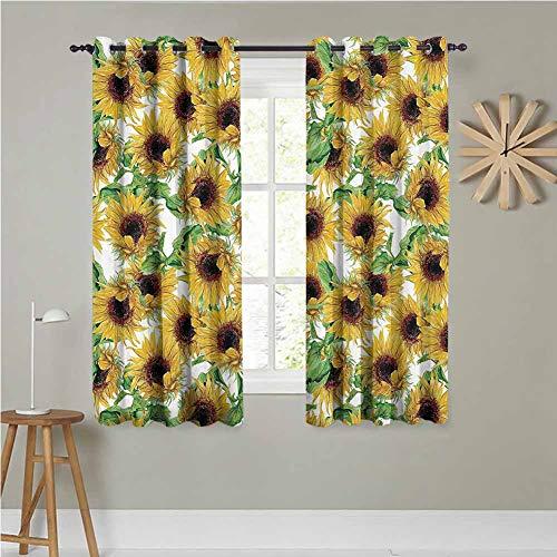 Sunflower Decor Collection Cortina de cocina de 137 x 228 cm, juego de 2 girasoles secos, ilustración, rama, herbario, diseño artístico, de arte de alta eficiencia, oscurecimiento de la habitación