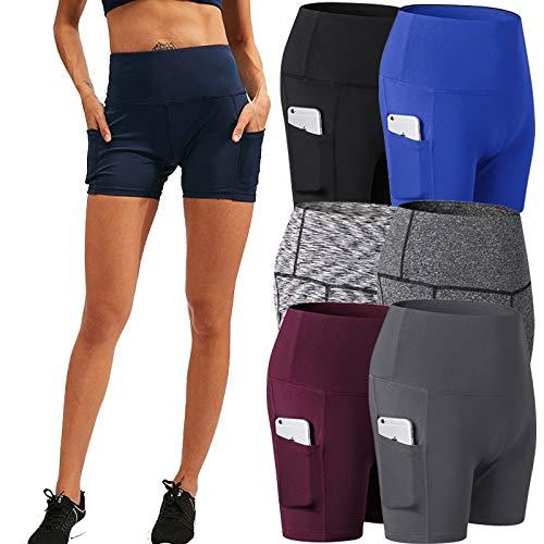 No-Branded WZGGZWGG Frauen Gym Shorts Jogging Laufhose Yoga Shorts Frauen hohe Taillen-Sport Taschen Fitness Yoga Kurze Hose (Color : Colorful Black, Size : M)