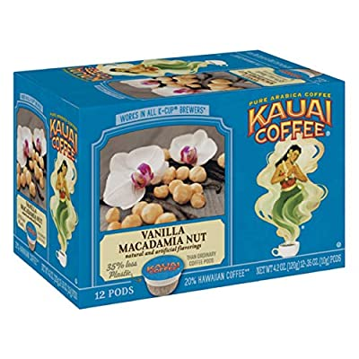 Kauai Coffee Single Serve Pods, Vanilla Macadamia Nut Flavor – 100% Arabica Coffee from Hawaii's Largest Coffee Grower, Compatible with Keurig K-Cup Brewers - 12 count(pack of 6)