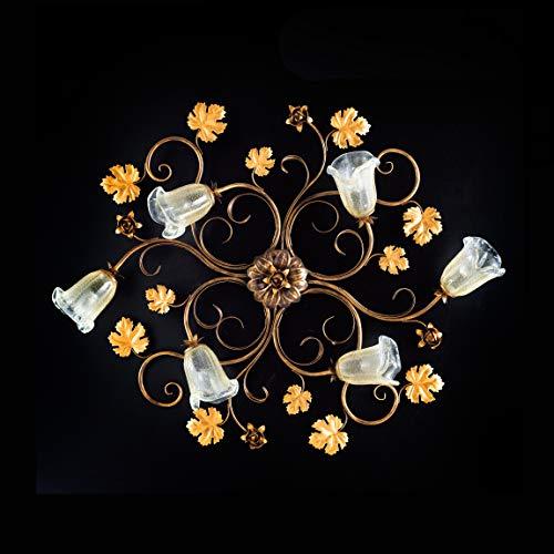 Plafón clásico de hierro forjado cristal y hojas iris, 6 luces