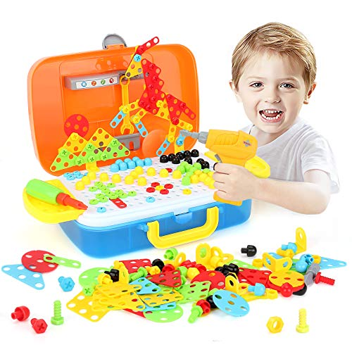 Electric Drill Puzzle Set STEM Learning Toy DIY Building Block Bricks Games Set with Drill Screwdriver Tool 3D Educational Construction Tool Kit Toys for Kids Boys Girls
