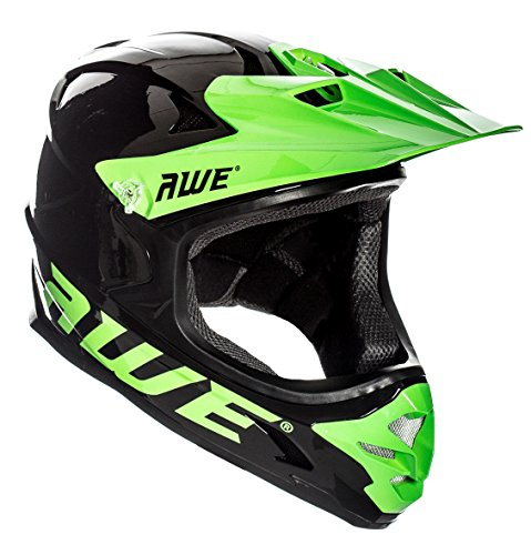 AWE® AWEBlast™ libre 5 Año Crash de repuesto * BMX Downhill - Casco para descensos, color negro y verde grande 58 - 60 cm