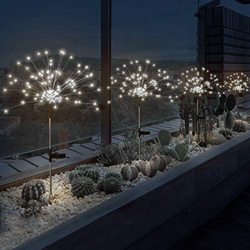 2 Pack Outdoor Home Christmas Decor Solar Powered Flowers Firework Lights, Waterproof DIY 40 Copper Wire Dimmable White Light Auto ON-Off 120 LED Lights for Garden Patio Yard Pathway Lawn Party