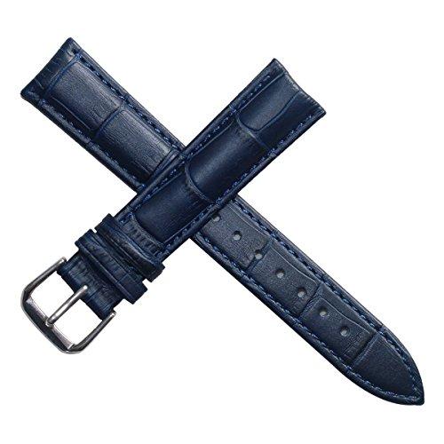 22 mm blu cinturino in pelle di alligatore cinghie vera pelle di vitello grana opaca imbottita