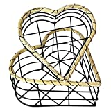 2-TLG Metall Obstkorb Set mit Griff Brotkorb Brotkörbchen Dekokorb Metallkorb Regalkörbe Herzform schwarz L 26/21 cm
