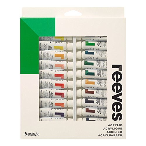 Reeves Acrylic Paint 10ml Tubes, Set of 24,