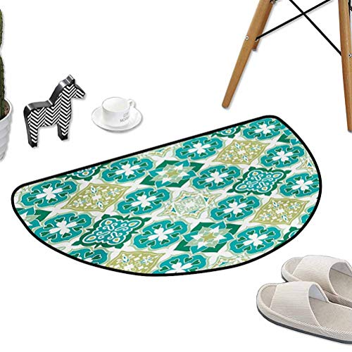 """Non Slip Door Floor Mats Carpet Rugs Colored Tiled Pattern Geometrical Diagonal and Triangle Forms Oldest Craft W31""""x L20"""" Half Round Best Floor mats"""