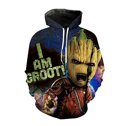 Guardians of the Galaxy - Sudadera con capucha para hombre y mujer, impresión 3D, suéter Hiphop I Am Groot unisex, Color23., XXXXXXXL