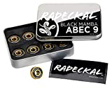 RADECKAL Black Mamba ABEC 9 Skateboard Bearings with Built in Spacers for Skateboards, Longboards, Cruisers, Pre-Lubricated, High Precision Rating, Long Lasting, 608 RS (1 Set of 8)…