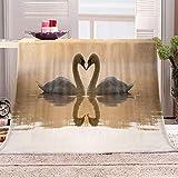 JYSZSD 3D-gedruckte Fleece-Decke Schwan Gedruckte Decke Fleecedecke Weich Wohndecke Tagesdecke Dicke Sofadecke zweiseitige Decke Sofa und Bet 130x150cm