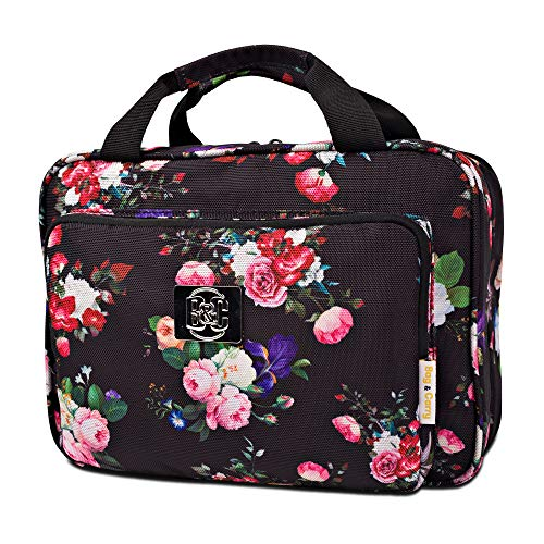 Large Hanging Travel Cosmetic Bag For Women - Versatile Toiletry And Cosmetic Makeup Organizer With Many Pockets (Black roses)