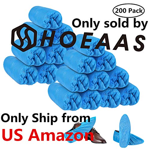 HOEAAS 200 Pack Disposable CPE Shoe Covers...