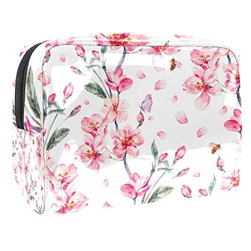 Trousse de toilette multifonction pour femme - Aquarelle, fleur de cerisier et fleur rose