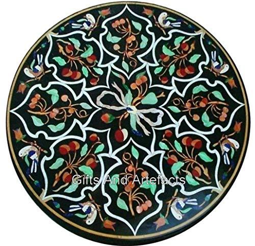 Mesa de centro de forma redonda de 24 x 24 pulgadas, color negro, mesa de sofá con casa india arte y manualidades