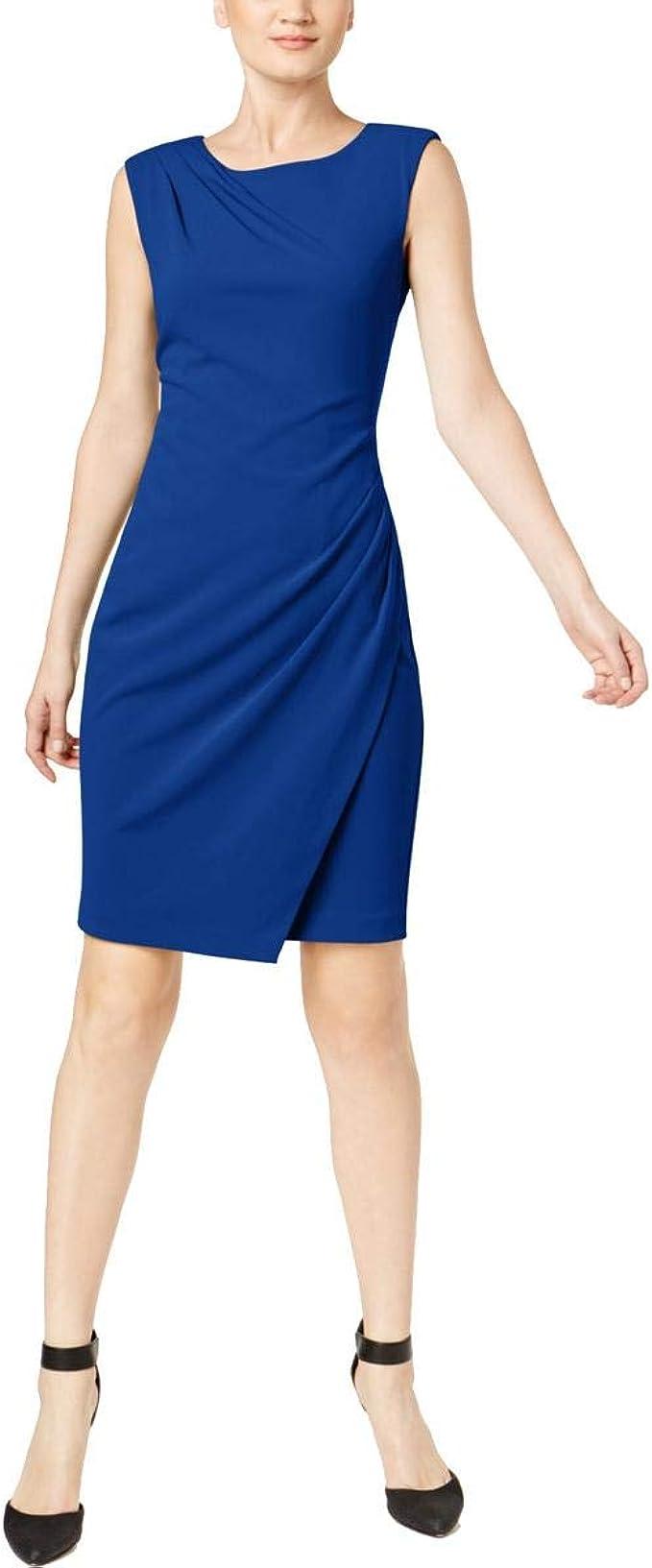 Calvin Klein Damen Kleid mit Flügelärmeln und Frontüberzug   blau ...