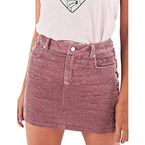 iYmitz Sommer Heißer Damen A-Linie Schlanker Cord Kurze Mode Hohe Taille Rock Bodycon Minirock mit Bleistift