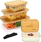 Vemingo Táper de Cristal Recipientes de Cristal para Alimentos 4 pieza cajas de vidrio con tapa de bambú - Con elásticos - Sin BPA