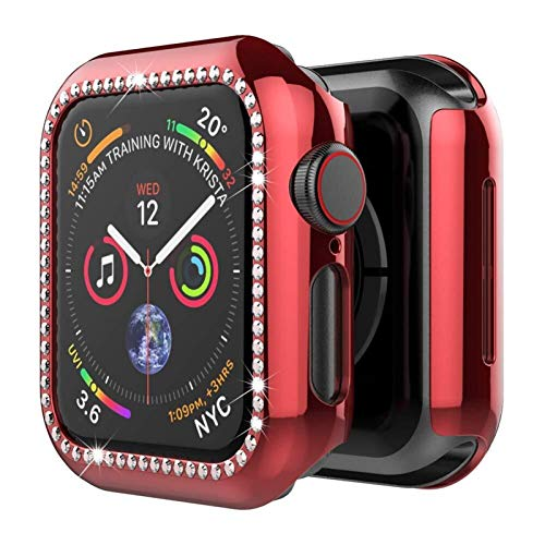 Funda Aplicar a Apple Watch Band Apple Watch 5 4 3 44mm 40mm Iwatch Band Band 42mm 38mm Bling Diamond Protector Cubierta del Protector Parachoques (Band Color : Red, Band Width : 40mm Series 4 5)