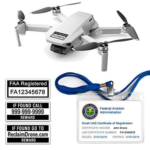 DJI Mavic Mini - FAA Drone Labels (2 Sets of 3) + FAA UAS Registration ID Card for Hobbyist Pilots + Lanyard and ID Card Holder