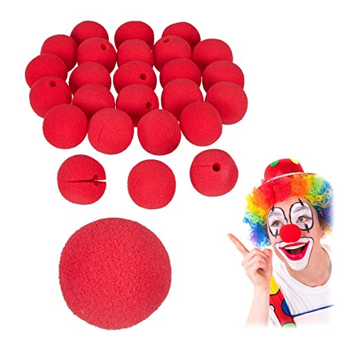 Relaxdays Clownsnasen, 25 Stück, Kinder & Erwachsene, Schaumstoff, Fasching, Karneval, Halloween, Clown Nase, rot