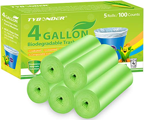 Biodegradable Trash Bags 4 Gallon 0.55Mil Extra Thicken Garbage Bags 100 Counts Compostable Degradable Wastebasket Bins Liners Bag for Kitchen,Bathroom,Office,Cat Litter(Green)